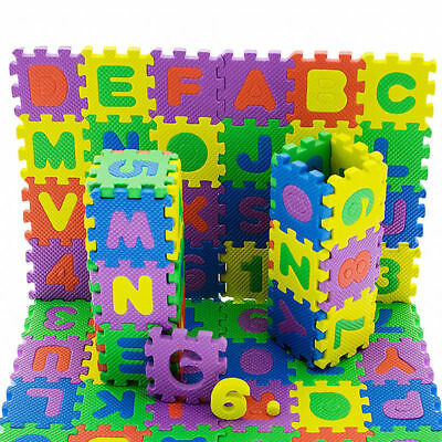 36 Pcs Baby Kids Educational Alphanumeric Puzzle Mats Small Size Child Toy Gift_