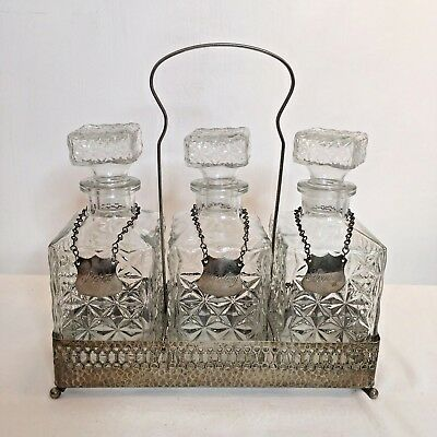 Vintage Cut Glass Decanter Set Tray Whisky Sherry Port Neck Tags 28cm High