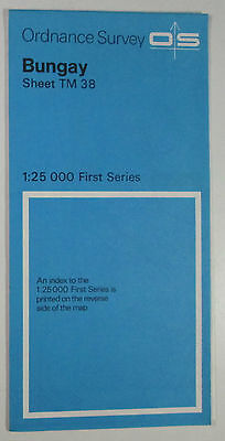 1961 old vintage OS Ordnance Survey 1:25000 First Series map TM 38 Bungay