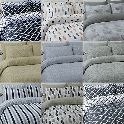 Luxury 100% pure cotton reversible printed duvet quilt cover bedding set