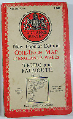 1946 old OS Ordnance Survey New Popular 6th Edition CLOTH map 190 Truro Falmouth
