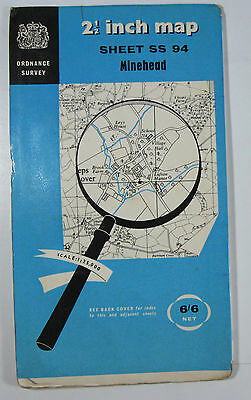 1963 old vintage OS Ordnance Survey 1:25000 First Series Map SS 94 Minehead