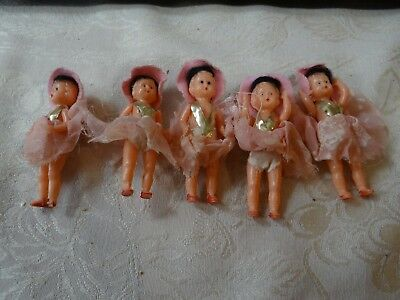 "Small Vintage 1950s Era ITALY Made Plastic Girl Dolls 2 3/4"" Tall RARE pink wig"