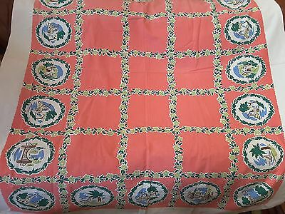 Vintage Printed Novelty Tablecloth by Harmony House~Travelog of Places Design~