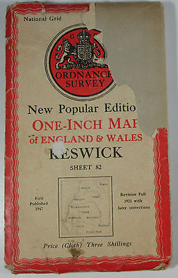 1947 Old OS Ordnance Survey One-Inch New Popular Edition CLOTH Map 82 Keswick