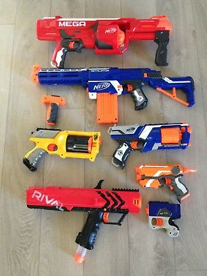 Nerf Gun Lot Of 7 With Accessory And Some Ammo