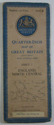 1946 OS Ordnance Survey Quarter-Inch Map Fourth Edition 2 England North Central