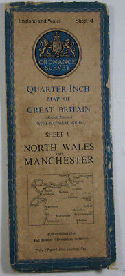 1946 OS Ordnance Survey Quarter-Inch Map Fourth Edition 4 North Wales Manchester