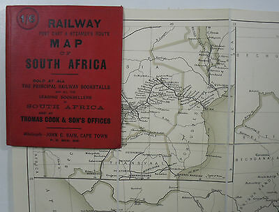 c1903 Old Antique Bain's Railway Post Cart & Steamer's Route Map of South Africa