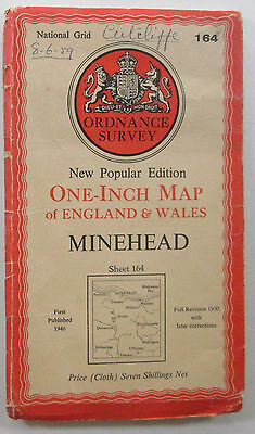 1946 old OS Ordnance Survey New Popular Edition one-inch map 164 Minehead, cloth