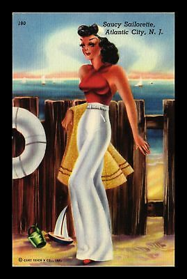 Dr Jim Stamps Us Saucy Sailorette Atlantic City New Jersey Topical Postcard