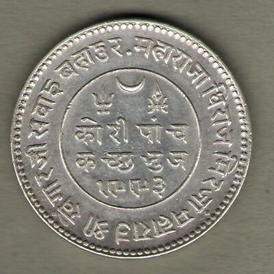 Kutch State Silver 5 Kori In The Name Of George V Ad1935-Vs1993 Unc Rare Coin