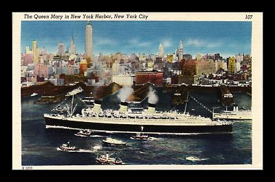 Dr Jim Stamps Us Queen Mary New York Harbor New York City Linen Postcard