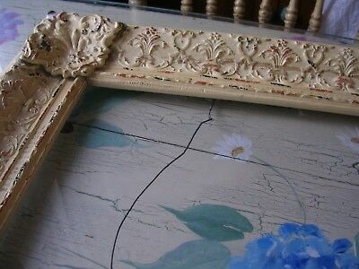 Large Antique Ornate Wood & Tin Gesso 23 x 18 opening Picture Frame Shabby Cream