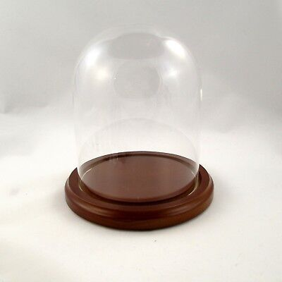 New Chestnut Base 4.5 x 6 Glass Dome Display Stand, Egg Stand, Pysanky Stand