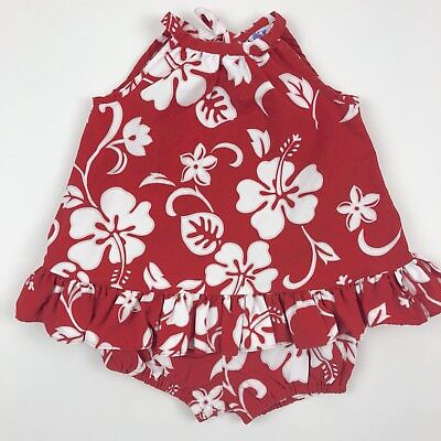 Vintage Kole Kole Sleeveless Ruffle Top Bloomers Outfit Red Hawaiian 18 Months