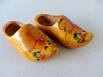 Vintage Pair Of Small Dutch Hand Made Wooden Clogs Made In Holland 1958
