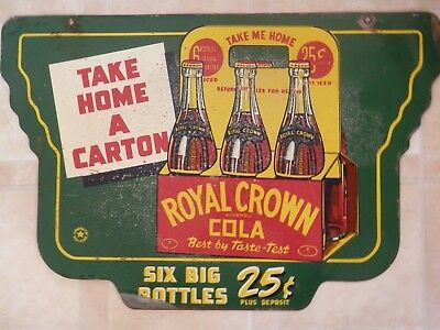 "Rare Vintage 1942 RC Royal Crown Cola Soda Pop Gas Oil 2 Sided 24"" Metal Sign"