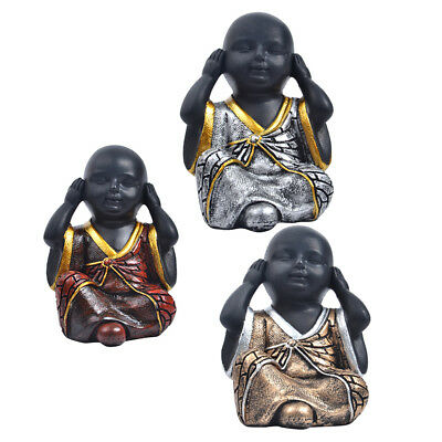 3pcs Resin Happy Buddha Figure Chinese Laughing Sitting Hand Carved-Red