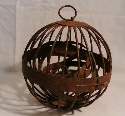 Antique Ships Wrought Iron Gimbal Oil Lamp/Whalers Lantern, Circa 1825
