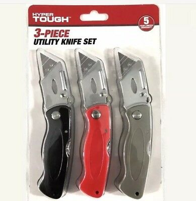 Hyper Tough 3 Piece Utility Knife Set Non Slip Box Cutter Handle Snap Lock Razor