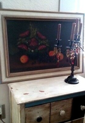 French Country,Still Life Oil Painting,Antique,Black board,white frame,shabby