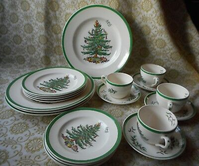SPODE CHRISTMAS TREE 20 Piece Dinnerware Table Setting ENGLAND