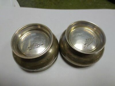 Pair of Tiffany & Co sterling silver Footed Salt Dishes Gold Gilt Bowls, # 4374