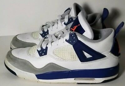 Nike Air Jordan Retro 4 Youth White Blue Sneakers Tennis Shoes 487724 132 Sz 7Y