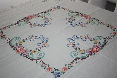 """Beautiful vintage cross-stitched tablecloth ~ linen ~ 50 1/2"""" X 47 1/2"""""""