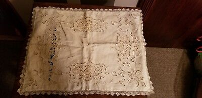 Antique Victorian Handmade Embroidered Needlework Throw Pillow Cover