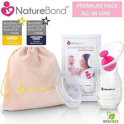 NatureBond Silicone Manual Breast Pump Breastfeeding Milk Saver Suction BPA Free