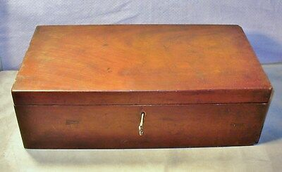Antique 1800's Lap Desk-Writing Slope-Box-Dovetail Side Drawer-Leather Hinges