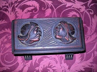 1800's  ANTIQUE HAND CARVED WOOD BOX - KINGS GAURD KNIGHTS-WONDERFUL CONDITION
