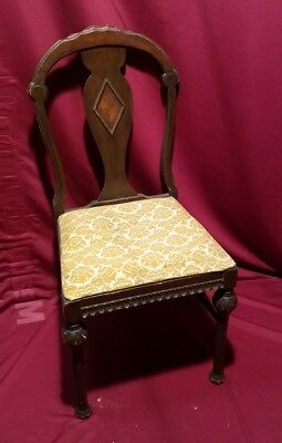 Antique Chair with inlayveneer marquetry matching vanity bench separate auction