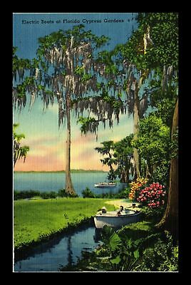 Dr Jim Stamps Us Electric Boats Florida Cypress Gardens Linen View Postcard