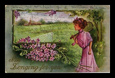 Dr Jim Stamps Us Im Longing For You Topical Greetings Tennis Postcard
