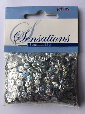 SEQUINS - CUPS - SILVER - 6mm - 15G - APPROX 750 PIECES - NEW & SEALED