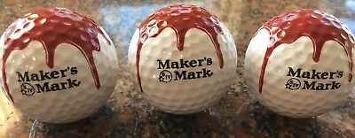 Set Of Three Makers Mark Golf Balls Maxfli Unused New Condition Bourbon Whiskey