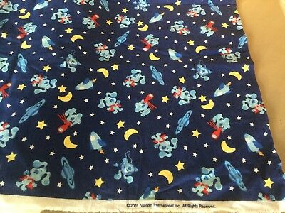 """New Old Stock BLUES CLUES Cotton Fabric 4 3/4 Yds X 45"""" Outer Space , Etc."""