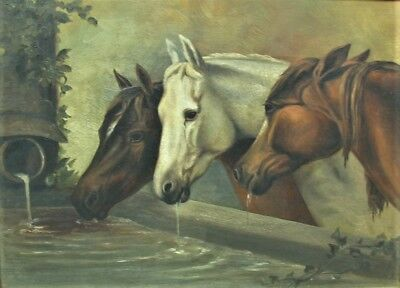 Fine 19th C. Oil Painting on Canvas  THREE HORSES DRINKING  c. 1870  antique