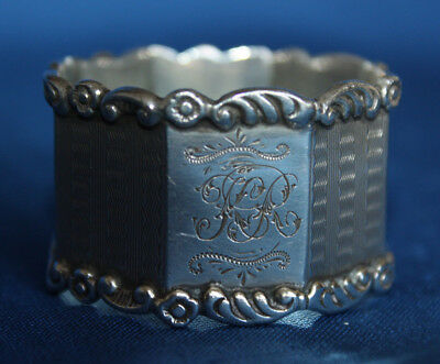 "Antique Octagonal Monogrammed ""KR"" English Sterling Silver Napkin Ring - England"