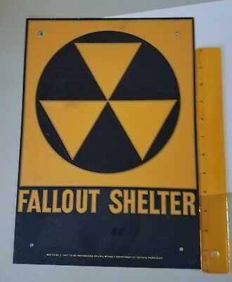 "1950's CIVIL DEFENSE METAL FALLOUT SHELTER SIGN 10"" x 14"""