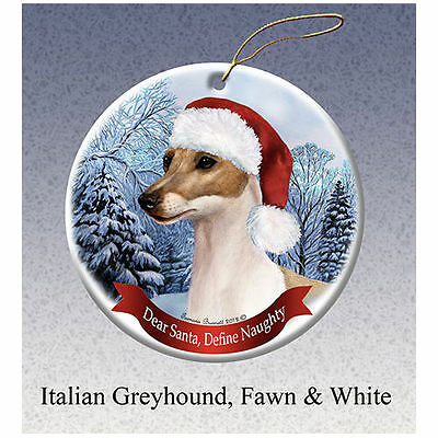 Italian Greyhound Fawn Howliday Porcelain China Dog Christmas Ornament