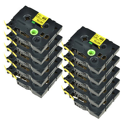 10PK For Brother PT-E300 PT-E550W HSe621 Heat Shrink Tube Black on yellow 8.8mm