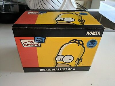 Homer Simpson Highball Glasses X 6