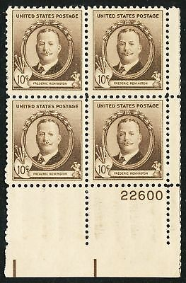 Dr Jim Stamps Us Scott 888 10C Frederic Remington Plate Block Og Hinged Selvage