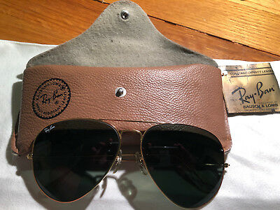 Vintage Bausch & Lomb USA Ray Ban Gold Aviator Sunglasses 62[]14 (lens/temple)