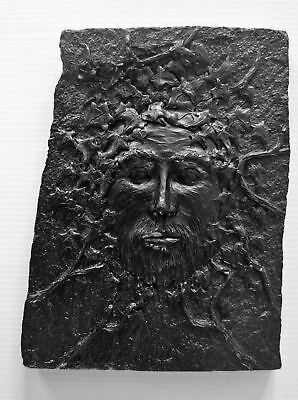 Green Man Wall Plaque made from Coal - Hand Crafted - 433