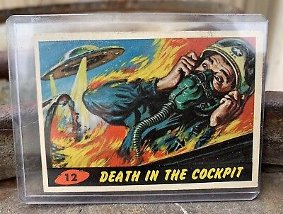 1962 Mars Attacks Trading Card #12 Death In The Cockpit Good Authentic